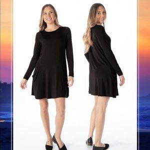 Betabrand Black Long Sleeve Jersey Tunic Dress S